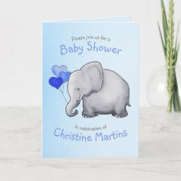 Cute Elephant Blue Baby Boy Shower Invitation
