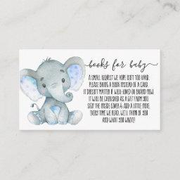 Cute Elephant Boy Book Request For Baby Shower Enclosure Card