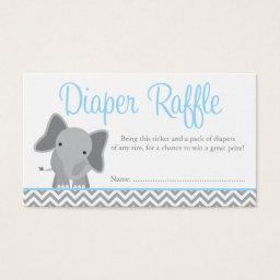Cute Elephant Chevron Blue Diaper Raffle Ticket