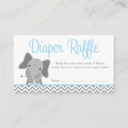 Cute Elephant Chevron Blue Diaper Raffle Ticket Enclosure
