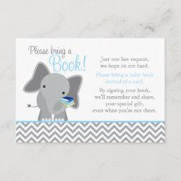 Cute Elephant Chevron Light Blue Baby Shower Book Enclosure