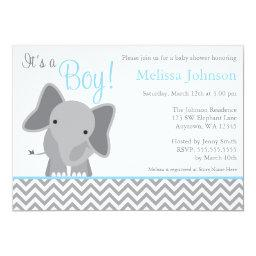 Cute Elephant Chevron Light Blue Baby Shower