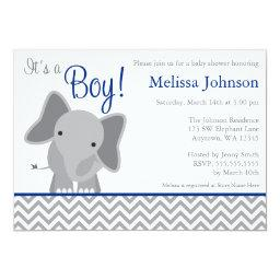 Cute Elephant Chevron Navy Blue Baby Shower