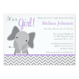 Cute Elephant Chevron Purple Baby Shower