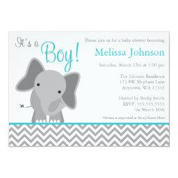 Cute Elephant Chevron Teal Baby Shower