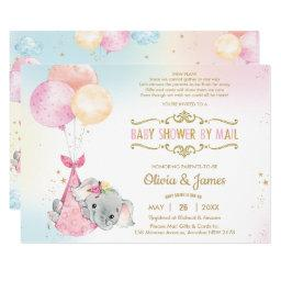 Cute Elephant Girl Virtual Baby Shower By Mail Invitation