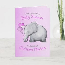Cute Elephant Pink Girl Baby Shower Invitation