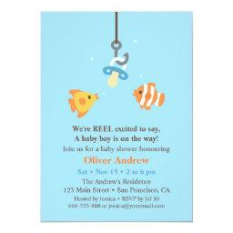 Cute Fish Bait Fishing Baby Shower Invitationss