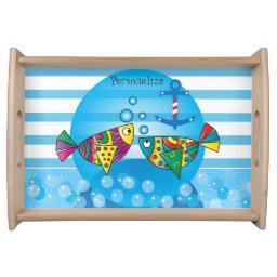 Cute Fishy Bubbles Baby Shower Theme Serving Tray