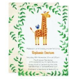 Cute Giraffe & Bird Baby Shower Invitationss