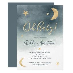 Cute Gold Moon Stars Blue Watercolor Baby Shower Invitation