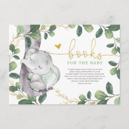 Cute Green Gold Greenery Elephant Books For Baby Enclosure Card