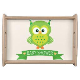 Cute Green Owl Baby Shower Serving Tray