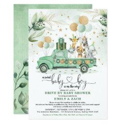 Cute Greenery Safari Drive Through Boy Baby Shower Invitation