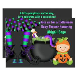 Cute Halloween Neutral Pumpkin Baby Shower Invite