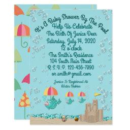 Cute Invitation For A Baby Shower By The Pool