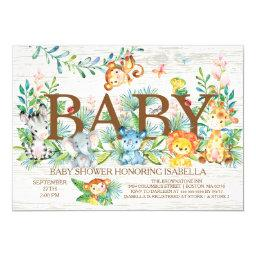 Cute Jungle Animals Neutral Baby Shower Invitations