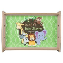 Cute Jungle Baby Shower; Bright Green Ovals Serving Tray