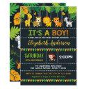 Cute Jungle Boy Baby Shower Safari Animals Party Invitation