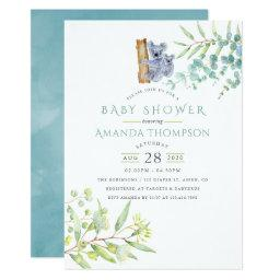 Cute Koala Bear Eucalyptus Leaves Baby Shower Invitation