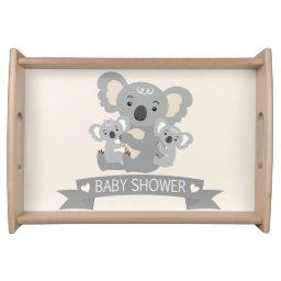 Cute Koala Twins Baby Shower Serving Tray