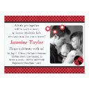 Cute Ladybug, Red And Black Polka Dots Baby Shower Invitations