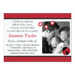 Cute Ladybug, Red and Black Polka Dots Baby Shower