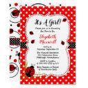 Cute Ladybugs It's A Girl Baby Shower Invitation