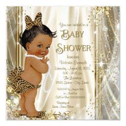 Cute Leopard Girly Ethnic Baby Girl Shower Invitations