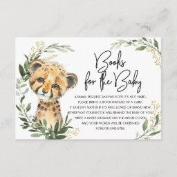 Cute Leopard Greenery Gold Safari Books For Baby Enclosure Card