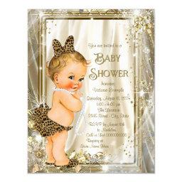 Cute Leopard Pearl Baby Girl Shower Invitation