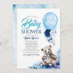 Cute Little Bear Blue Floral Balloon Baby Shower Invitation