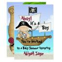 Cute Little Buccaneer Pirate Baby Shower Invitation