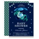 Cute Little Green Mermaid Baby Shower Invitation
