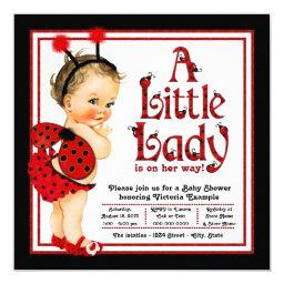 Cute Little Lady Red Ladybug Baby Shower Invitations
