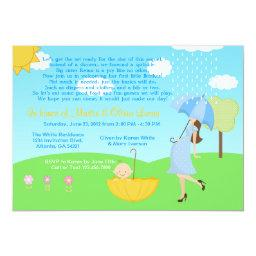 Cute Modern Mom And Baby Boy Baby Sprinkle Invitations