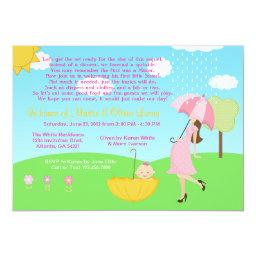 Cute Modern Mom And Baby Girl Baby Sprinkle Invitation