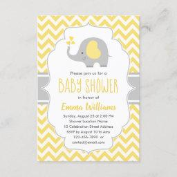 Cute Modern Yellow Gray Elephant Baby Shower Invitation