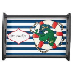Cute Nautical Alligator  Theme Serving Tray