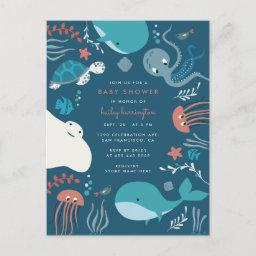 Cute Nautical Under The Sea Baby Shower Invitation Postinvitations