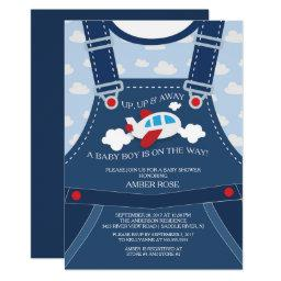 Cute Overalls Airplane Baby Shower