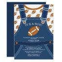 Cute Overalls Football Baby Shower Invitation