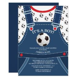 Cute Overalls Soccer Ball Baby Shower Invitation
