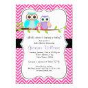 Cute Owl Girl Baby Shower . Pink
