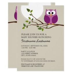 Cute Owl on Branch Baby Girl Shower