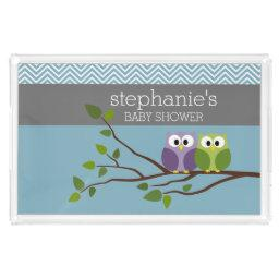 Cute Owl on Branch - Blue Baby Boy Shower Acrylic Tray