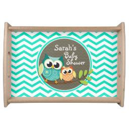 Cute Owls; Aqua Green Chevron Serving Tray