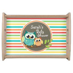 Cute Owls , Bright Rainbow Stripes Serving Tray