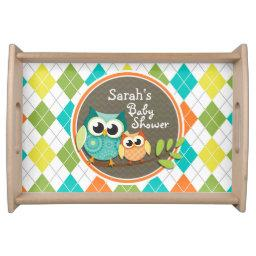 Cute Owls on Colorful Argyle; Baby Shower Serving Tray