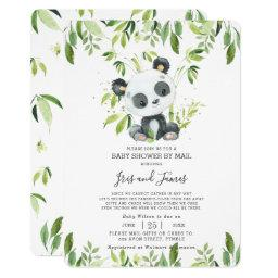 Cute Panda Greenery Virtual Baby Shower By Mail Invitation